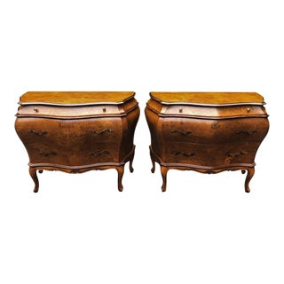 Pair of Italian Oyster Burl Walnut Commode Night Stand End Table For Sale