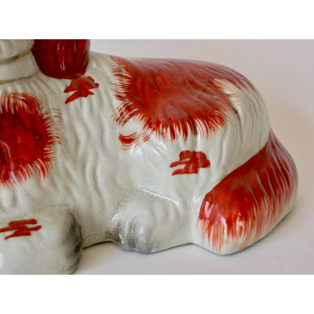 Gold Vintage Mid-Century Staffordshire Style Spaniel Figurines - A Pair For Sale - Image 7 of 10