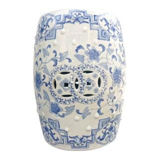 1950s Chinoiserie Blue & White Ceramic Garden Stool