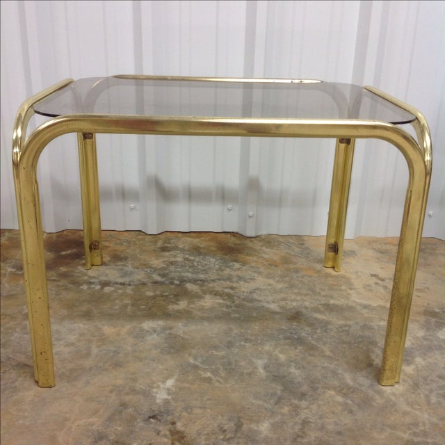 Regency Brass & Glass Waterfall Tables - A Pair - Image 5 of 5