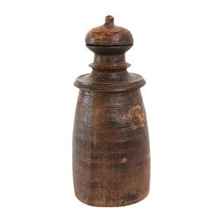 Vintage Nepal Wood Storage Pot w/Lid For Sale