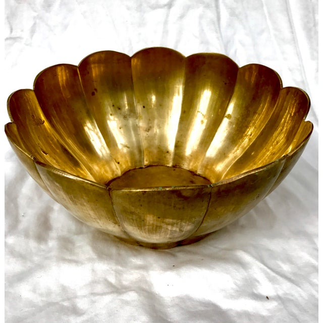 Hollywood Regency Scalloped Brass Bowl - Image 2 of 5