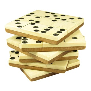English Domino Coasters - Set of 6 For Sale