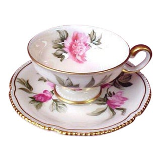 "Castleton China ""Peony"" Demitasse Cup and Saucer"