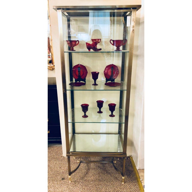 Mid 20th Century A French Hollywood Regency / Directoire Style Steel and Bronze Vitrine Cabinet. For Sale - Image 5 of 13