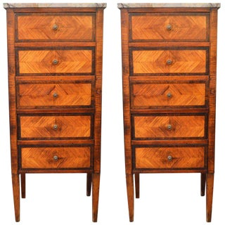 Louis XVI Style Inlay Wood Lingerie Chests - A Pair