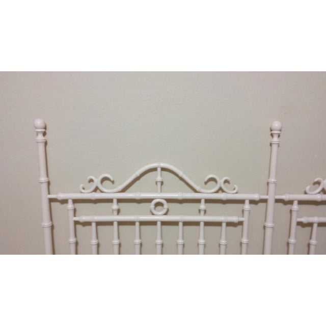 Vintage Chinese Chippendale Faux Bamboo Fretwork King Size Headboard - Image 6 of 8