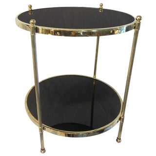 Two-Tier Brass and Black Glass Side Table For Sale