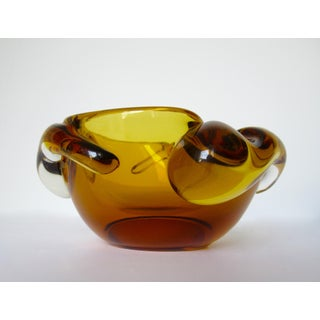 Vintage Italian Hand Blown Murano Amber Bowl by Pino Signoretto Preview