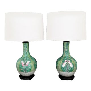 Antique Qing Chinese Butterfly Ceramic Porcelain Table Lamps-A Pair-Asian Boho Tropical Coastal Floral Palm Beach Mid Century Modern Cabbage Leaf Tree