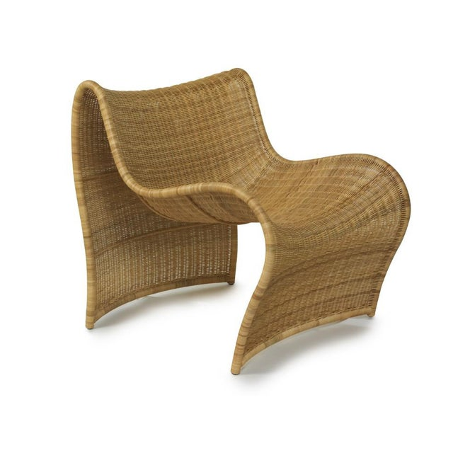 Contemporary Lola Wicker Chair, Natural For Sale - Image 3 of 3