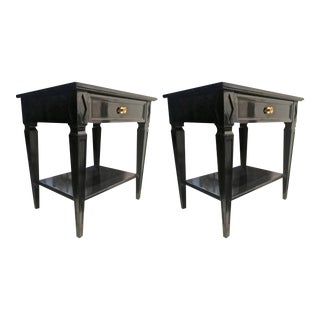Maison Jansen Pair of Blackened Wood Bedside or Side Table For Sale