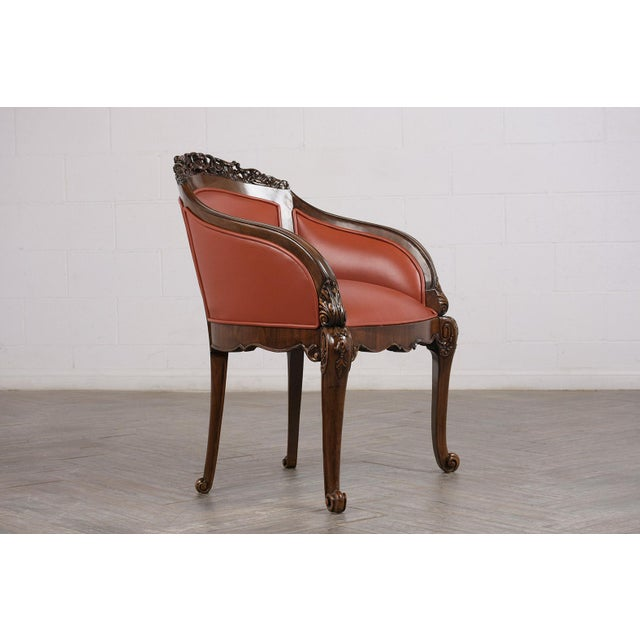 19th Century Pair of Traditional 19th Century English Chinoiserie Style Leather Bergeres For Sale - Image 5 of 9
