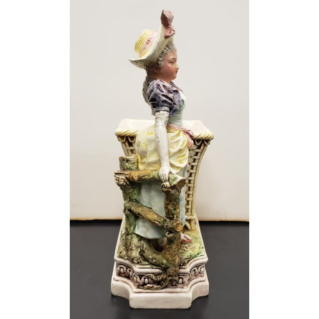 Victorian Late 19th Century French Majolica Porcelain Victorian Woman Matchstick Holder For Sale - Image 3 of 8
