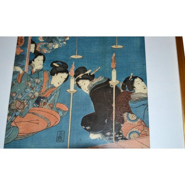 Utagawa Kuniyoshi Japanese Original Gilt Framed Woodcut Print on Paper C. 1845 For Sale - Image 4 of 11