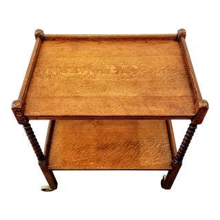 Victorian English Oak Turned Spool Leg Bar Cart / Tea Trolley For Sale