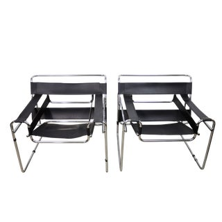 Pair of Marcel Breuer Wassily Chairs, Black Leather For Sale