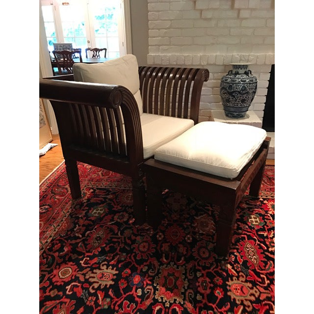 Hand-Carved Mahogany Wood Chair & Ottoman - A Pair - Image 2 of 10