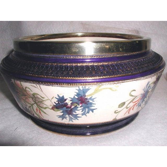 19th Century English Signed Porcelain Silver Salad Set - S/3 - Image 3 of 10