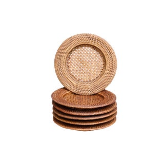 Caned Woven Plates, Set of 6