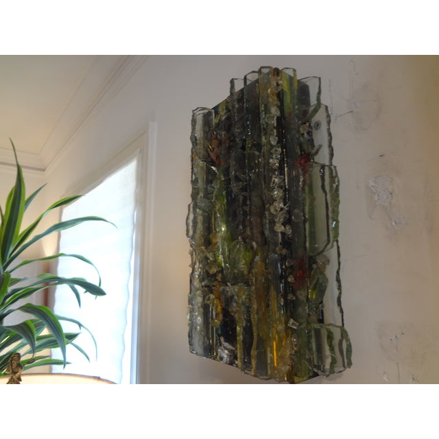 Multicolored Applied Glass Sconces - A Pair For Sale In Houston - Image 6 of 7