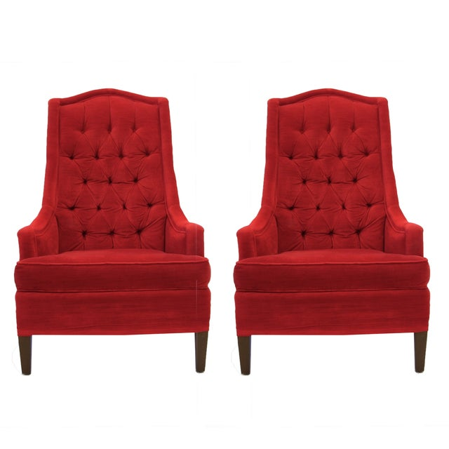 Tufted Red Velvet Hollywood Regency Chairs - Pair - Image 2 of 4