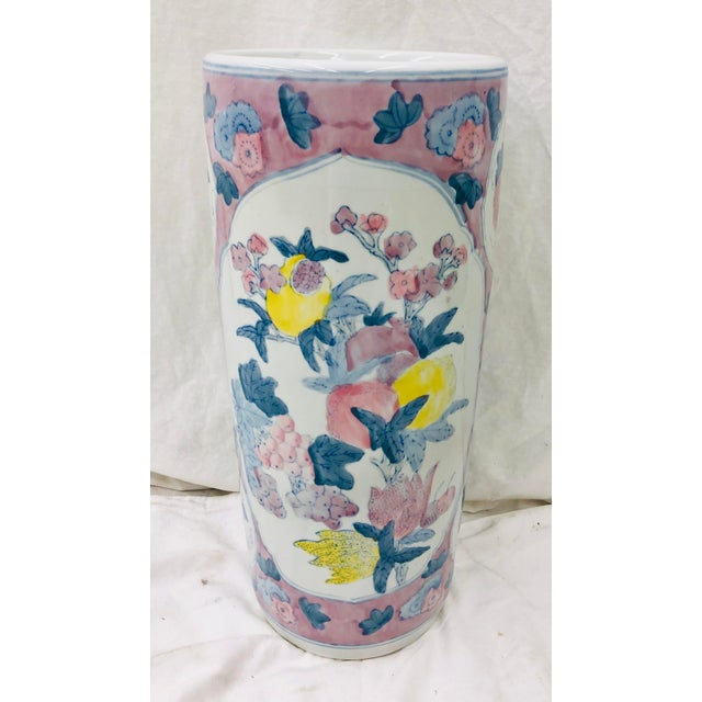 White Vintage Painted Ceramic Umbrella Stand For Sale - Image 8 of 8