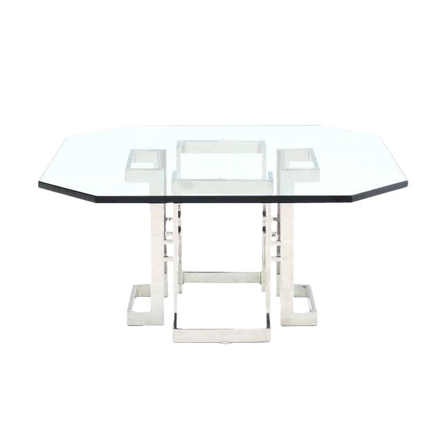 Square Chrome Base Glass Top Coffee Table For Sale