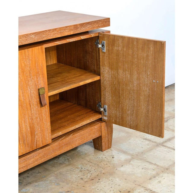 Jacques Adnet French Modern Cerused Oak and Leather Four-Door Credenza, Style of Jacques Adnet For Sale - Image 4 of 9