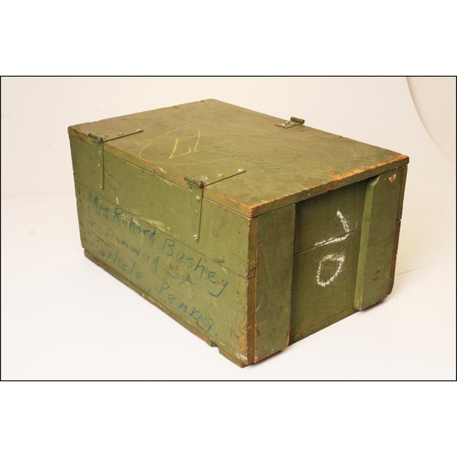 Vintage Distressed Green Military Trunk - Image 9 of 11