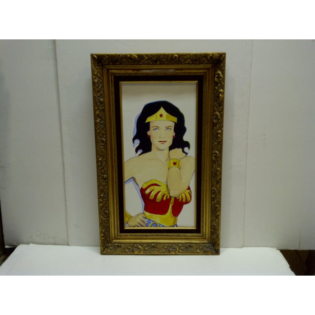 "American ""Wonder Woman"" Original Painting on Canvas by Sam Thorp For Sale - Image 3 of 7"