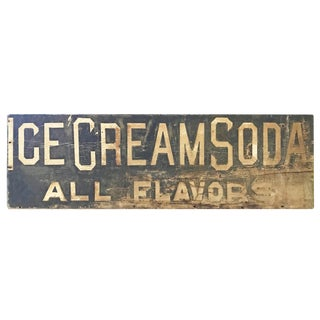 Sign - Vintage 'Ice Cream Soda' Wooden Sign For Sale