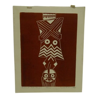 """1976 Limited Edition """"Linquit Bobo Mask"""" Signed Numbered (70/125) Print by Lester Hine"""