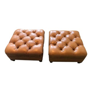 Williams Sonoma Home Tufted Leather Ottomans - A Pair