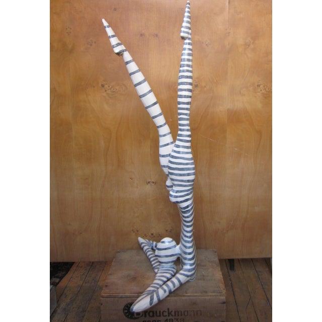 "Original Studio Art Postmodern Ceramic ""Acrobat"" Blue Striped Biomorphic Form Figural Sculpture by Jack Charney For Sale - Image 9 of 13"