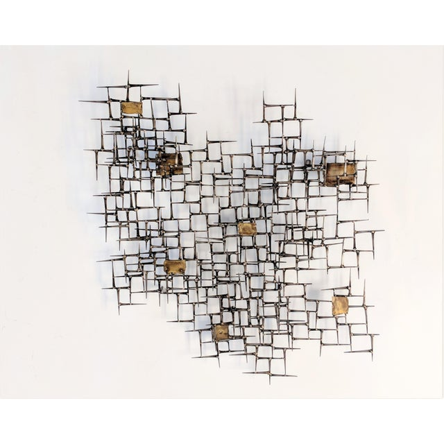 Brass Bronze Brass Brutalist Nail Wall Sculpture For Sale - Image 7 of 12
