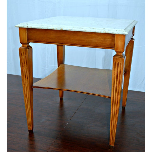 Traditional Square Side Table With Marble Top - Image 3 of 7