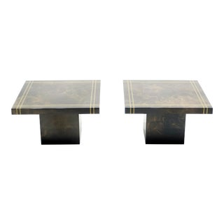 1970s Guy Lefevre for Ligne Roset Lacquered Brass End Tables - a Pair For Sale