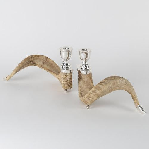 1970s PAIR OF RAM'S HORN AND SILVER CANDLE HOLDERS For Sale - Image 5 of 10