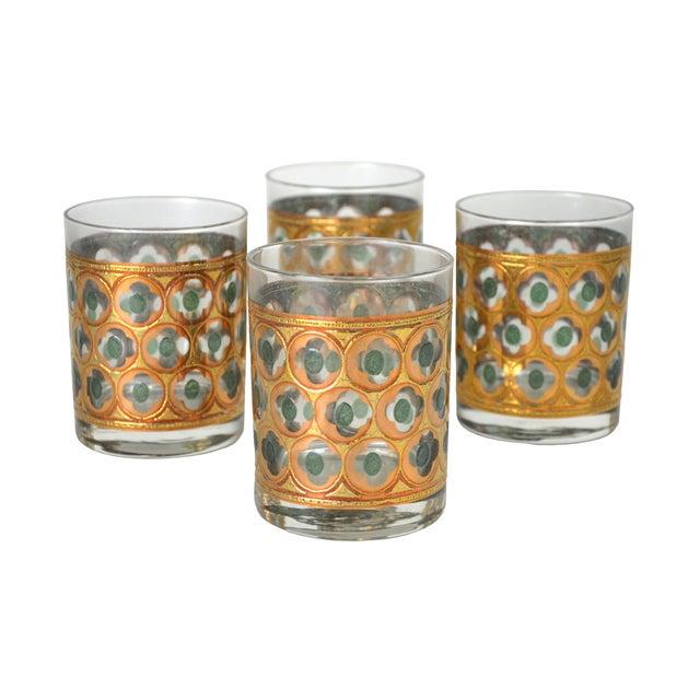 Vintage Green & Gold Cocktail Glasses - 4 - Image 1 of 4