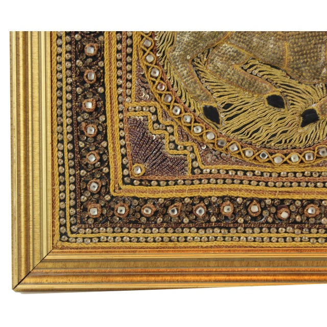 White Pasargad DC Hand Made India Beaded Gazelle Raised Wall Art - a Pair For Sale - Image 8 of 12
