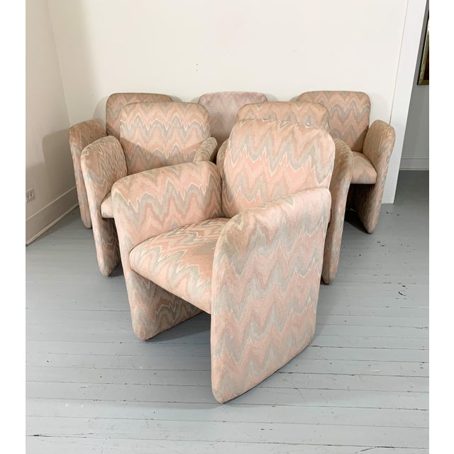 Art Deco 1980s Vintage Levone Flame Stitched Dining Arm Chairs- Set of 6 For Sale - Image 3 of 5