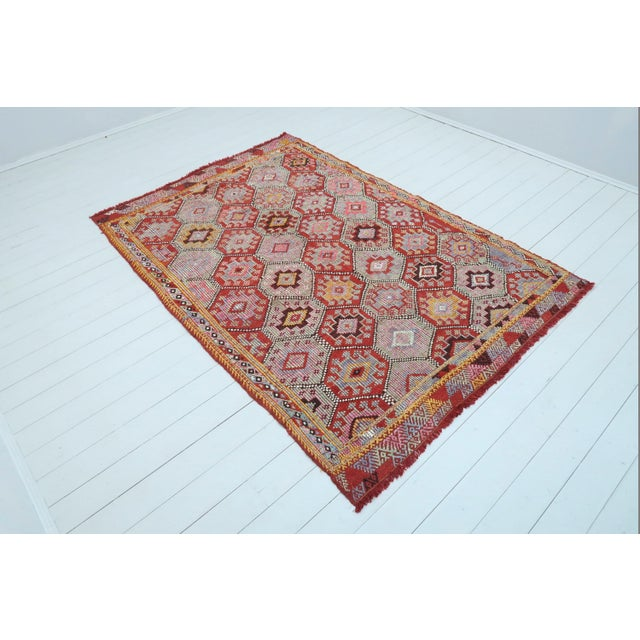 Beautiful vintage turkish fethiye nomad's cecim kilim (embroidered). Made pure handspun wool and dyed naturally. Washed...