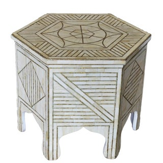 Indian Hexagonal Bone Inlay W/ Brass Side Table For Sale