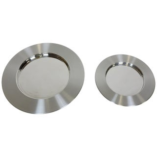 Two Timo Sarpaneva Scandinavian Modern Large Stainless Steel Chargers Platters For Sale