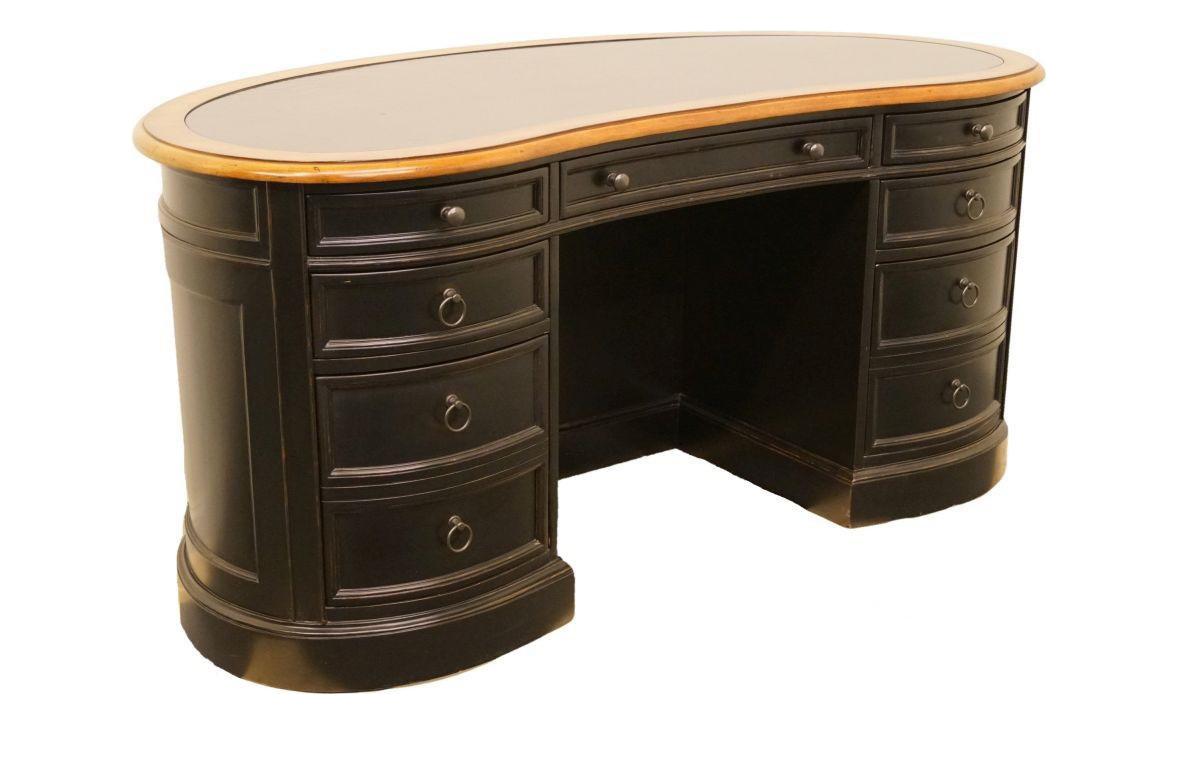 20th Century Traditional Sligh Furniture Black Kidney Desk Desk37