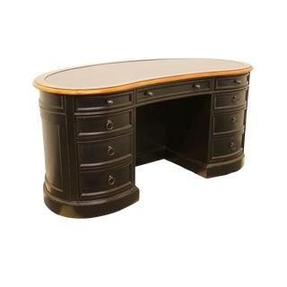 20th Century Traditional Sligh Furniture Black Kidney Desk For Sale