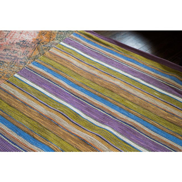 Swedish Handwoven Lilac & Green Rug - 4′3″ × 7′4″ - Image 2 of 7