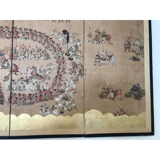 Early 19th Century Japanese 4 Panel Screen For Sale - Image 4 of 8