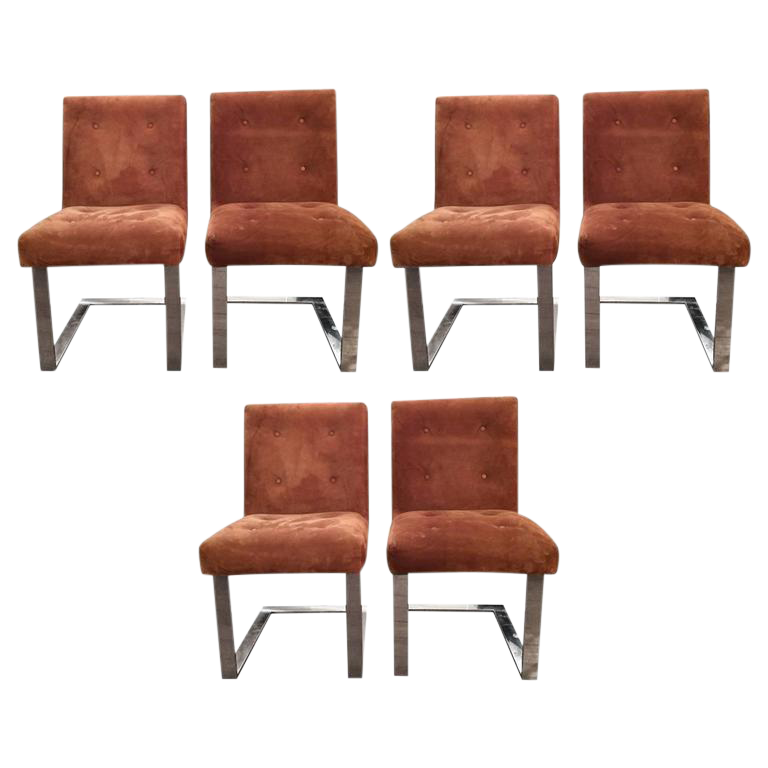 Paul Evans Mid Century Modern Suede And Chrome Dining Chairs   Set Of 6